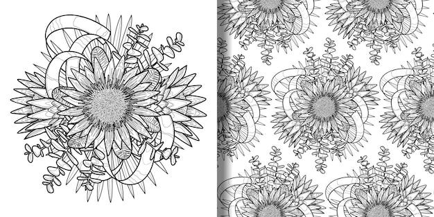 トロピカルブーケのアウトラインプリントとシームレスなパターン
