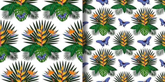 テキスタイルプリント用に設定されたトロピカルブーケシームレスパターン