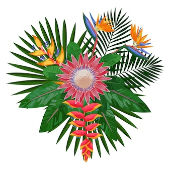花と葉のトロピカルブーケ熱帯の花の構成tシャツのモックアップ