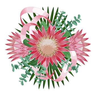 꽃 잎과 리본이 있는 열대 꽃다발 인사말 카드를 위한 열대 꽃 구성