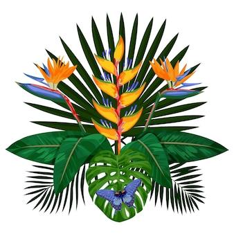 花と熱帯の花束は、はがきのために蝶の熱帯の花の組成物のモックアップを残します