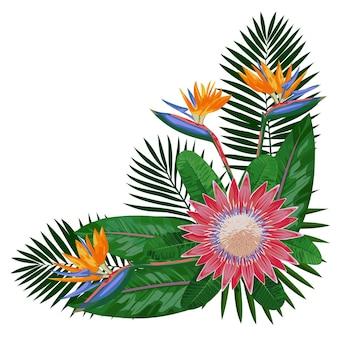 花と熱帯の花束は熱帯の花のコーナーの構成を残しますグリーティングカードのためにモックアップ