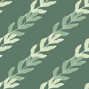 緑の背景にシームレスなパターンの葉を持つ熱帯の枝。葉の背景。自然の壁紙。生地のデザイン、テキスタイルプリント、ラッピング、カバーに。ベクトルイラスト。