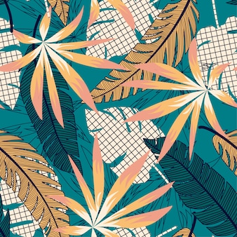 Tropical bright seamless pattern with colorful leaves and plants