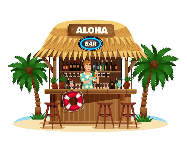 Тропический бар-бунгало на берегу океана с улыбающимся барменом, предлагающим напитки, иллюстрация