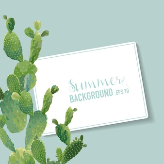 熱帯のサボテンの夏の背景。エキゾチックなグラフィックカードのデザイン