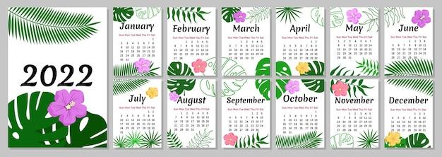 열대 달력 2022년 몬스테라가 있는 꽃무늬 디자인은 야자수와 열대 꽃을 남깁니다.