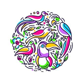 열대 카드. 이국적인 정글, 색 새, 원 기호에 자연 꽃. 무지개 손으로 그린 그림
