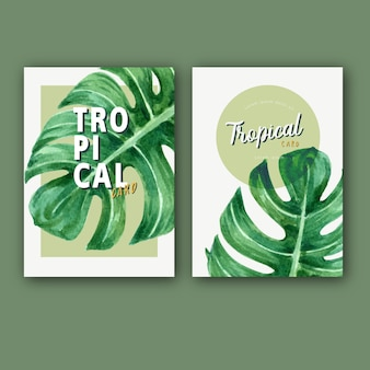 Tropical card invitation summer with plants foliage exotic, creative watercolor