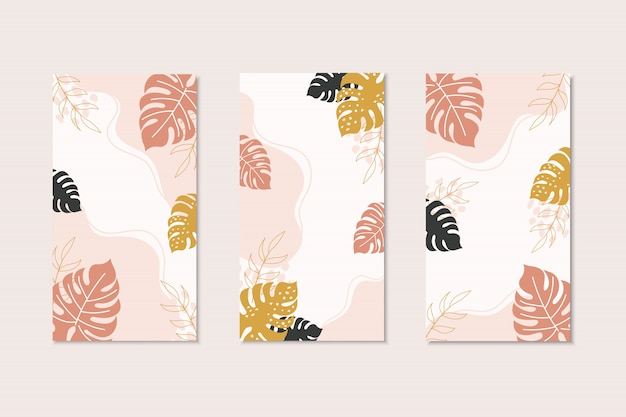 Tropical card templates in modern style with copy space for text. flayer design with brown,black,yellow monstera leaves. tropical social media templates.