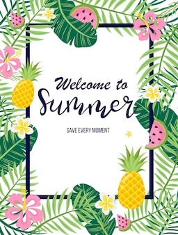 A tropical card with palm leaves and exotic flowers summer jungle design is ideal for flyers