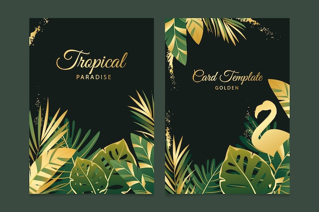 Tropical cards with golden splashes template