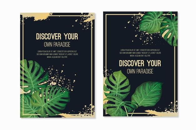 Тропические карты с золотыми брызгами