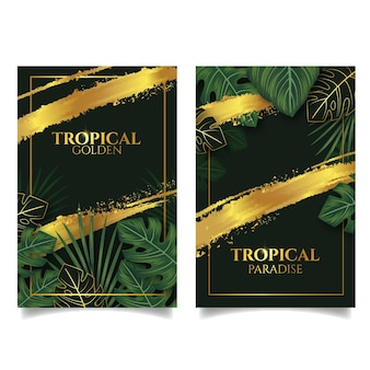 Tropical cards with golden splashes