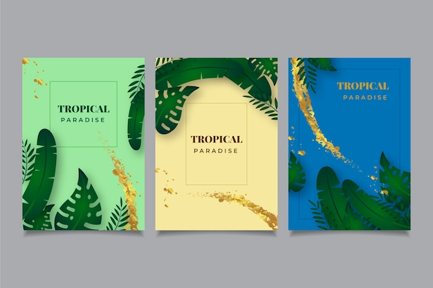 Tropical cards with leaves and golden splashes