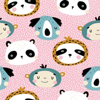 Tropical characters seamless pattern with cute animals faces.
