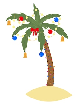 Tropical christmas palm tree vector with lighting garland balls and bells