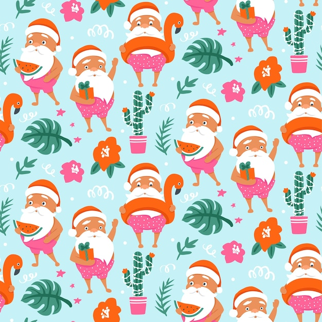 Tropical christmas seamless pattern with summer santa claus in flamingo inflatable ring