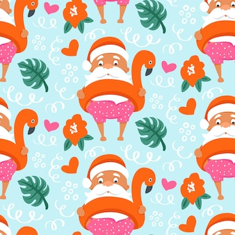 Tropical christmas seamless pattern with summer santa claus in flamingo inflatable ring.