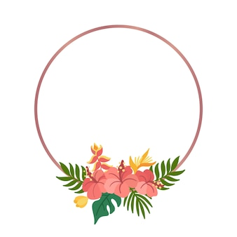 Tropical circle frame with palm leaves hibiscus and strelitzia flowers