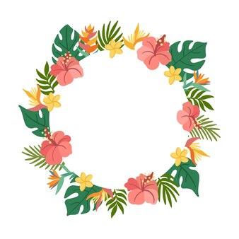 Тропический круг кадр с пальмовыми листьями гибискус стрелиция плюмерия цветы