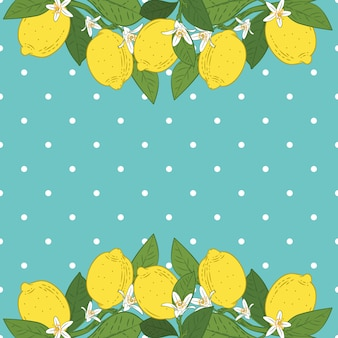 Tropical citrus lemon fruits bright background