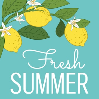 Tropical citrus lemon fruits bright summer card