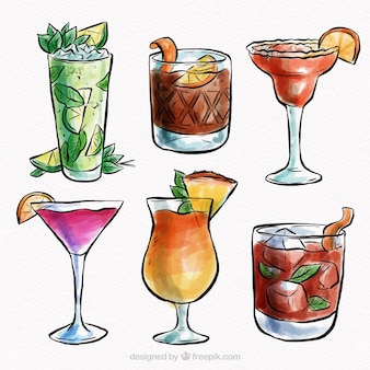 Tropical cocktail collection with watercolor style