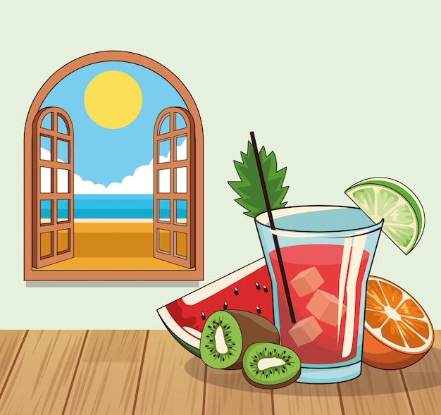 Tropical cocktail drink poster