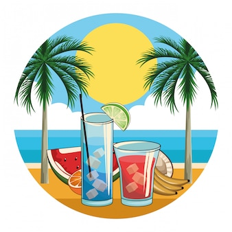 Tropical cocktail drinks icon