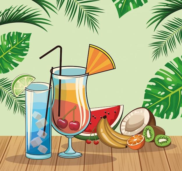 열대 칵테일 음료