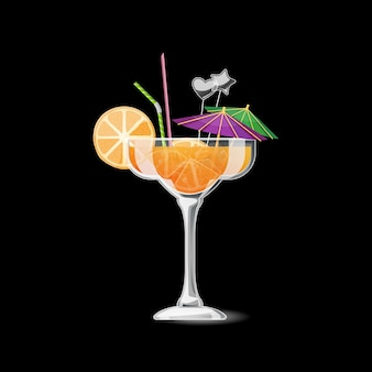 Tropical cocktail isolated. alcohol beverage with orange and straw. summer cocktail in glass illustration