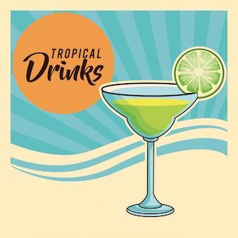 Плакат тропического коктейля