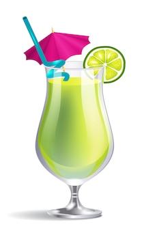 ストローとトロピカルカクテル。休暇、飲み物、飲み物。ビーチのコンセプト。