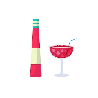 트로피컬 칵테일. 유리, 보드카, 삼부카, 주스, 블러디 메리에 담긴 여름 알코올 음료. 파티 초대, 바 메뉴를 위한 휴일 및 해변 파티 컨셉입니다. 벡터 일러스트 레이 션