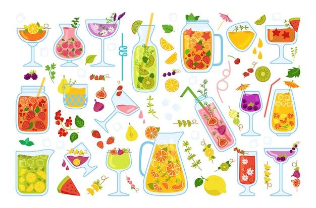 トロピカルカクテル、夏のジュース漫画セット。ストロベリーレモネードと紅茶、モヒート、スイカ、オレンジのフレッシュスムージー
