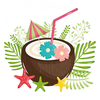 Tropical coconut cocktail summer icon
