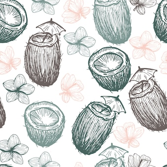 Tropical coconut and flowers hand drawn pattern