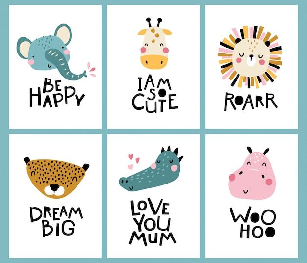Tropical collection. cute face of an animal with lettering. childish print for nursery in a scandinavian style.