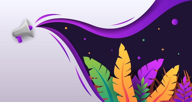 Tropical colorful papercut with speaker background design