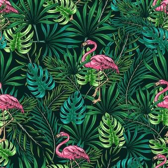 Тропический красочный фон с розовым фламинго, зеленым монстером и пальмовыми листьями