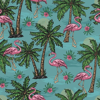 Tropical colorful seamless pattern with pink flamingo palm trees and blooming hibiscus flowers