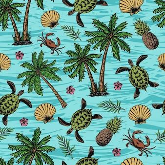 海の背景にカメ、貝殻、カニ、パイナップル、花、ヤシの木と熱帯のカラフルなシームレスパターン