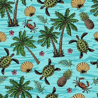 Tropical colorful seamless pattern with turtles, seashells, crabs, pineapples, flowers and palm trees on sea background