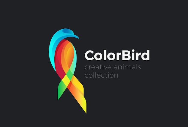 Tropical colorful sitting bird abstract logo.