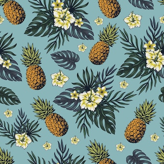 Tropical colorful vintage seamless pattern with pineapples, frangipani, hibiscus and exotic leaves