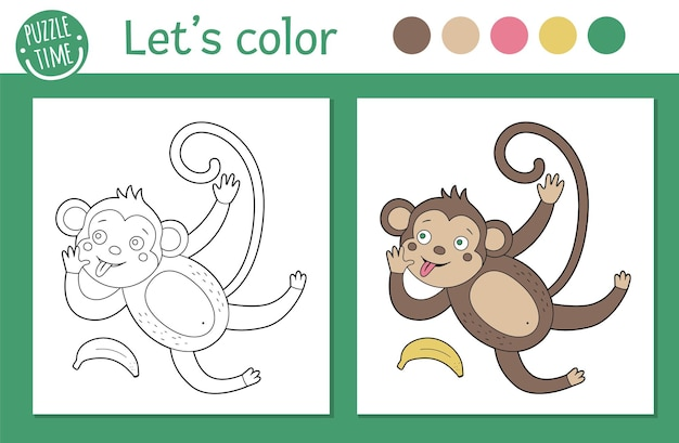 Tropical coloring page for children.   monkey illustration. cute funny animal character outline. jungle summer color book for kids with colored version and example