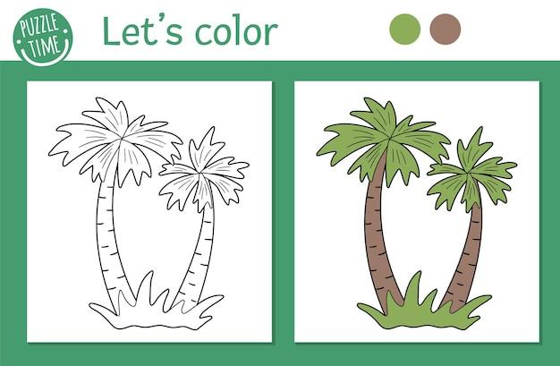 어린이를위한 열대 색칠 공부 페이지. 팜 트리 그림입니다. 귀여운 재미있는 해변 식물 개요. 컬러 버전 및 예제가있는 어린이를위한 정글 여름 컬러 북