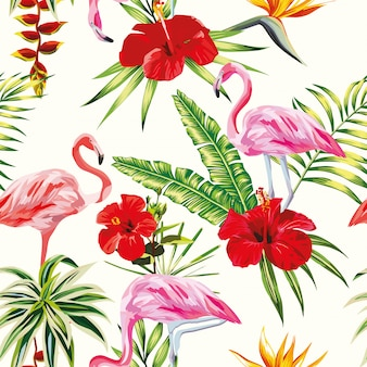 Tropical composition flamingo flowers and plants seamless pattern