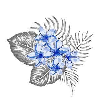 青いプルメリアの花と灰色のモンステラとヤシの葉の熱帯成分が分離されました。現実的な水彩風のエキゾチックなデザイン要素です。